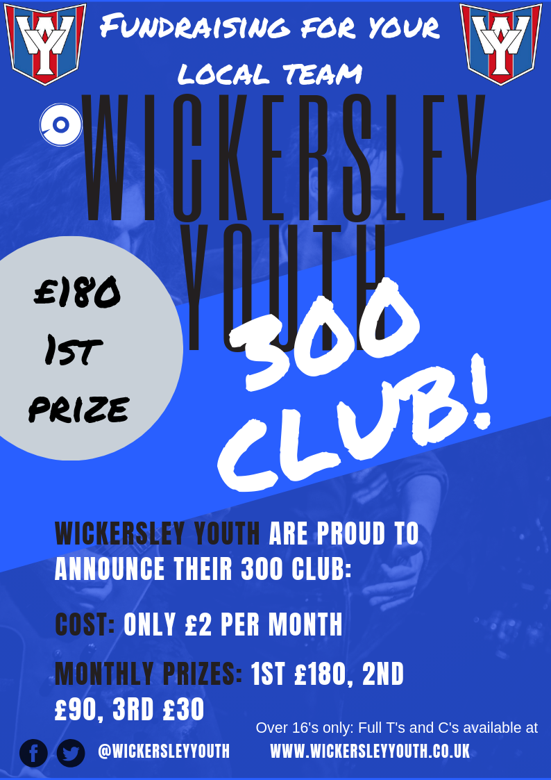 New Wickersley Youth fundraising lottery – The 300 club – Only £2 per month